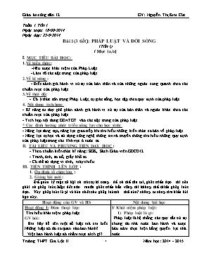 Giáo án GDCD 12 - Tiết 1-3, Bài 1: Pháp luật và đời sống - Năm học 2014-2015 - Nguyễn Thị Kim Cúc