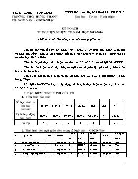 Kế hoạch thực hiện nhiệm vụ năm học 2015-2016 - Tổ: Văn - GDCD - Trường THCS Hưng Thạnh