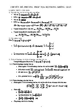Ôn thi Đại học Toán 12 - Chuyên đề: Phương pháp tọa độ trong không gian