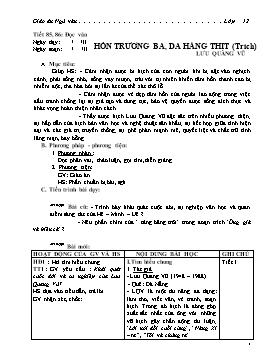 Giáo án Ngữ văn 12 - Tiết 85+86: Hồn Trương Ba, da hàng thịt - Năm học 2010-2011