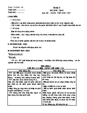 Giáo án Sinh học 9 - Tiết 29, Bài 47: Quần thể sinh vật