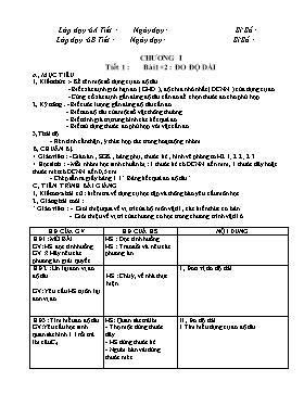Giáo án Vật lí 6 - Chương trình cả năm