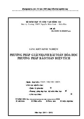 Sáng kiến kinh nghiệm - Phương pháp giải nhanh bài toán hóa học Phương pháp bảo toàn điện tích - Trần Thị Thu Hiền