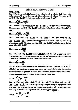 Bài tập Hình học không gian - Hồ Sỹ Trường