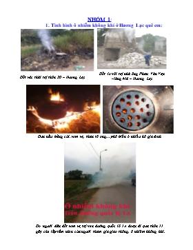 Bài thu hoạch môn Sinh học 9 - Nhóm 1: Tình trạng ô nhiễm không khí ở Hương Lạc