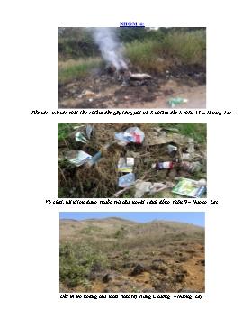 Bài thu hoạch môn Sinh học 9 - Nhóm 4: Tình trạng ô nhiễm môi trường ở Hương Lạc
