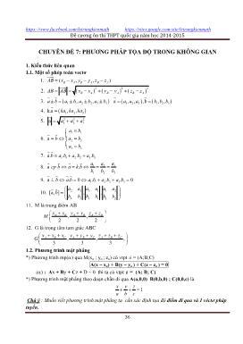 Đề cương ôn thi THPT Quốc gia năm 2014-2015 - Chuyên đề 7: Phương pháp tọa độ trong không gian