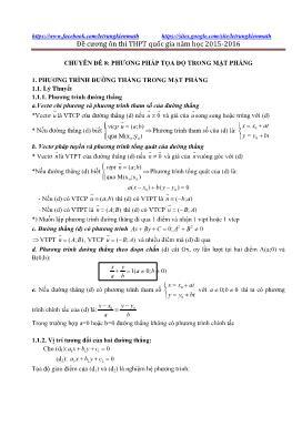 Đề cương ôn thi THPT Quốc gia năm 2015-2016 - Chuyên đề 8: Phương pháp tọa độ trong mặt phẳng