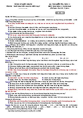 Đề kiểm tra 1 tiết HKII môn Sinh 11 Nâng cao - Trường THPT Chuyên Huỳnh Mẫn Đạt