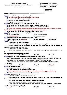 Đề kiểm tra 1 tiết Sinh 11 Nâng cao - Học kì II - Trường THPT Chuyên Huỳnh Mẫn Đạt