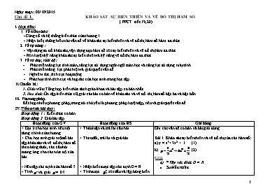 Giáo án dạy học theo chủ đề Đại số 12 - Chủ đề 1: Khảo sát sự biến thiên và vẽ đồ thị hàm số