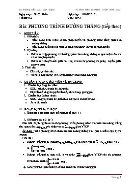 Giáo án Hình học 10 - Chương III, Bài 1: Phương trình đường thẳng (tiếp) - Năm học 2015-2016 - Nguyễn Trần Như Hảo