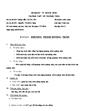 Giáo án Hình học 10 - Chương III, Bài 3: Phương trình đường tròn - Năm học 2015-2016 - Nguyễn Thị Bích Ngọc