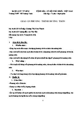 Giáo án Hình học 10 - Chương III, Bài 3: Phương trình đường tròn - Quảng Thị Kim Thạch