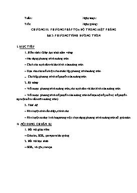 Giáo án Hình học 10 - Chương III, Bài 3: Phương trình đường tròn