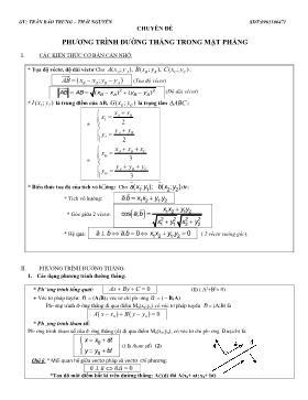 Giáo án Hình học 10 - Chuyên đề: Phương trình đường thẳng trong mặt phẳng - Trần Bảo Trung