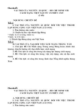 Giáo án Lịch sử 12 - Chuyên đề: Vai trò của Nguyễn Ái Quốc - Hồ Chí Minh với cách mạng Việt Nam từ 1919 đến 1945 (2 tiết)