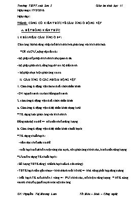Giáo án Sinh học 11 - Tiết 48-78 - Năm học 2015-2016 - Nguyễn Thị Hương Lam