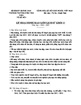Kế hoạch phụ đạo môn Lịch sử Khối 12 - Năm học 2014-2015 - Trường THPT Nguyễn Văn Trỗi