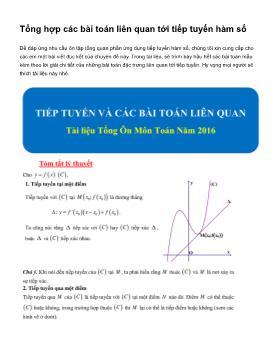 Tổng hợp các bài toán liên quan tới tiếp tuyến hàm số