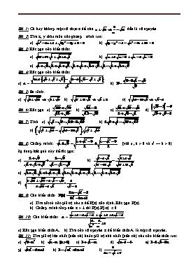 Bài tập Toán ôn thi vào lớp 10 - Chương I: Căn bậc hai