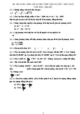 Đề thi tuyển sinh lớp 10 THPT môn Toán - Năm học 2006-2007 - Tỉnh Thái Nguyên