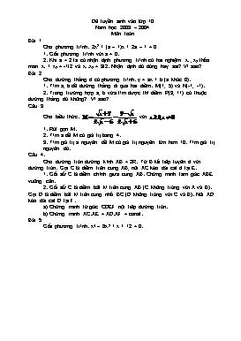 Đề tuyển sinh vào lớp 10 môn Toán - Năm 2003-2009 - Ninh Bình