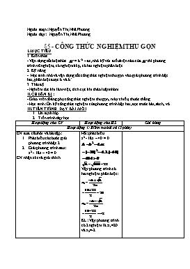 Giáo án Đại số 9 - Bài 5: Công thức nghiệm thu gọn - Nguyễn Thị Nhã Phương
