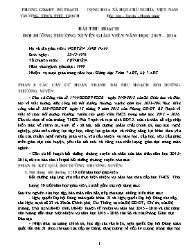 Bài thu hoạch bồi dưỡng thường xuyên giáo viên Năm học 2015-2016 - Module THCS 5, 17, 20, 25 - Nguyễn Ánh Nam