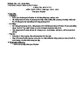 Đề kiểm tra Học kì II môn Toán 8 - Năm học 2015-2016 - Trường THCS Trần Quốc Toản (Đề dự bị)