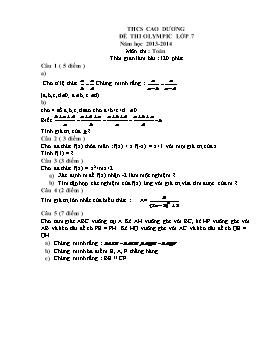 Đề thi Olympic Lớp 7 môn Toán - Năm học 2013-2014 - Trường THCS Cao Dương