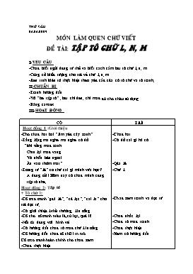 Giáo án Lớp Lá - Môn làm quen chữ viết: Tập tô chữ L, N, M - Năm học 2008-2009
