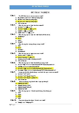 Bài tập trắc nghiệm môn Tin học 9
