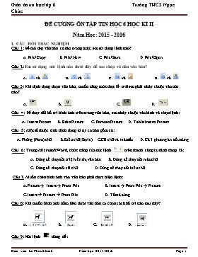 Đề cương ôn tập + Đề thi môn Tin học Lớp 6 Học kì 2 - Năm học 2015-2016 - Lê Phúc Khánh