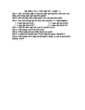 Đề kiểm tra 1 tiết Học kì 1 Khối 11