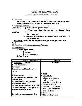 Giáo án English 6 - Unit 5: Things I do (Lession 4)