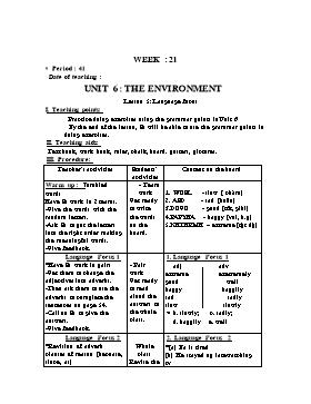 Giáo án English 9 - Period 41, Unit 6: The Environment (Lession 5)