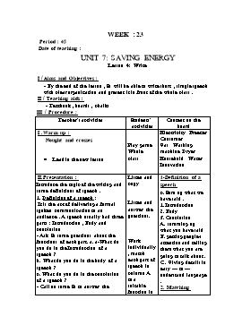 Giáo án English 9 - Period 45, Unit 7: Saving Energy (Lession 4)