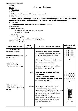 Giáo án Thể dục 7 - Tiết 64: Kiểm tra cầu lông - Năm học 2007-2008