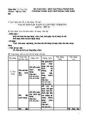 Giáo án Tin học 10 - Tiết 56, Chủ đề: Bài tập, Tạo và làm việc với bảng - Trường THPT Vinh Xuân