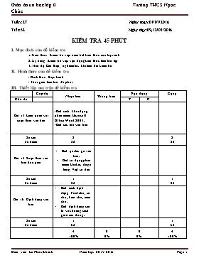 Giáo án Tin học Lớp 6 - Tiết 52: Kiểm tra 45 phút - Năm học 2015-2016 - Lê Phúc Khánh