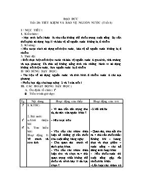Giáo án Đạo đức Lớp 3 - Tiết 28+29: Tiết kiệm và bảo vệ nguồn nước