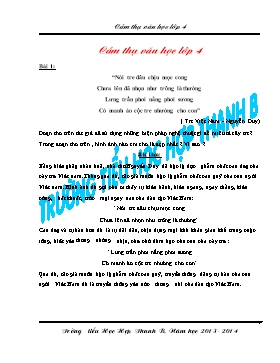 Bộ đề cảm thị văn học Lớp 4 - Năm học 2013-2014 - Trường Tiểu học học Hợp Thanh B