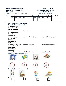 Đề thi Tiếng Anh Lớp 3 Học kì II - Năm học 2015-2016 - Trường Tiểu học Suối Ngô C