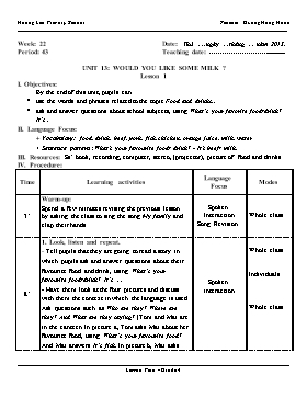 English Lesson Plan Grade 4 - Period 43 to 45, Unit 13: Would you like some milk? - School Year 2015-2016 - Duong Hong Hanh