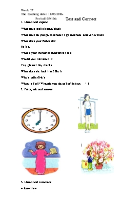 Lesson Plan English 4 - Week 27, Period 105+106: Test and Correct - School Year 2015-2016